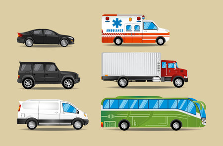 Sets of six types of cars ranging from sedans, suvs, vans, ambulances, trucks and buses