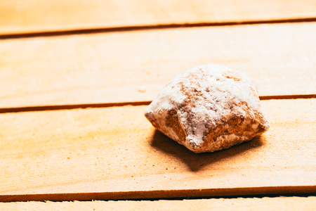 minty: one minty gingerbread on a wooden background. Stock Photo