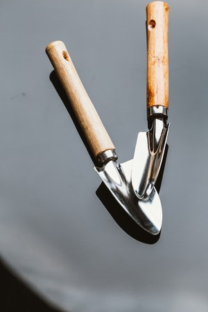 two shovel for planting on a dark mirror background.