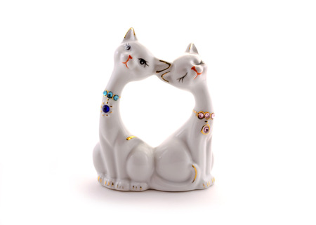 knick: Small porcelain cats figurine Stock Photo