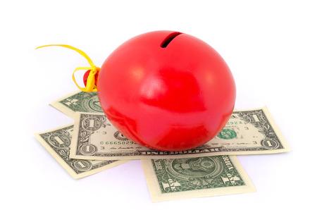 Red balloon piggy Bank photo