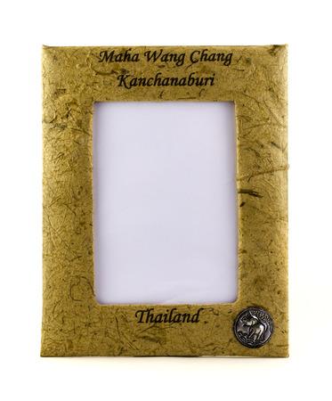 shit: Photo frame made of elephant shit Stock Photo