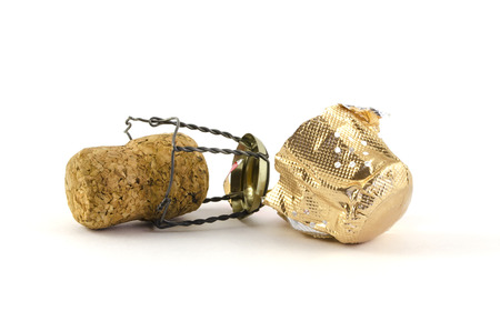 sparking: Photo of an isolated champagne or sparking wine cork. Concept object for a celebration event.