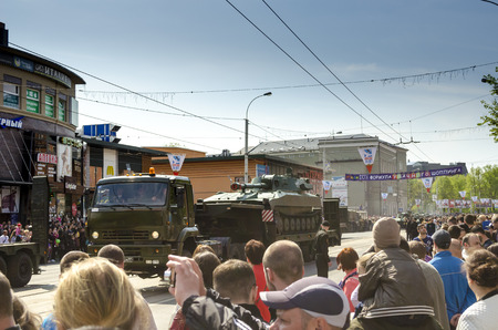 hydrogen bomb: Kaliningrad Russia May September 2015: Military Parade for the 70th anniversary of the victory over fascism. Kaliningrad.