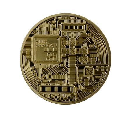 electronical: Golden Bitcoins back (digital virtual money) isolated. Stock Photo
