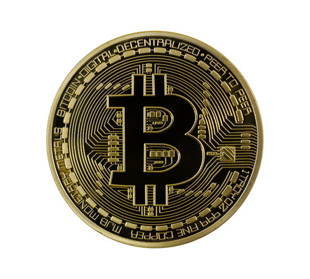 Golden Bitcoins face (digital virtual money) isolated.