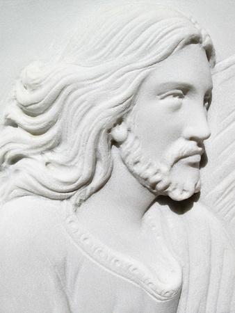 gravesite: jesus christ on marble lapid Stock Photo