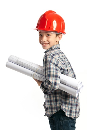 housebuilding: child with red helmet and sketches
