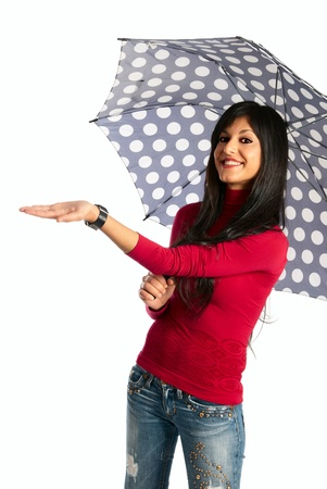 dark long hair girl smiling under the umbrella