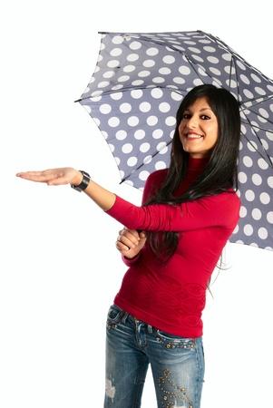 dark long hair girl smiling under the umbrella Stock Photo - 11190849