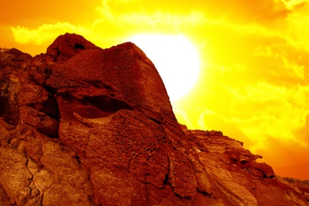 red rock and big sun  Stock Photo - 11601124
