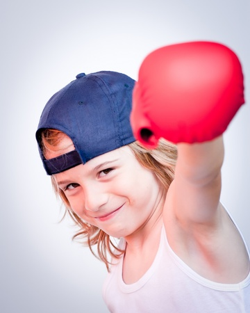 child with boxing gloves photo