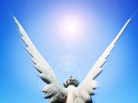 praying angel: angel wings and sun light