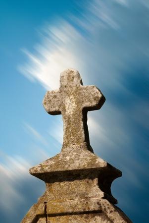 grave site: cross tombstone