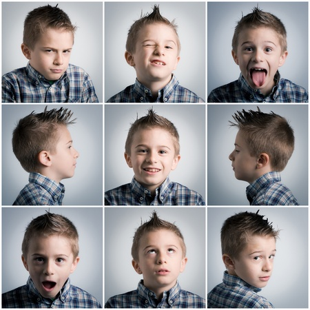 many different boy expressions photo