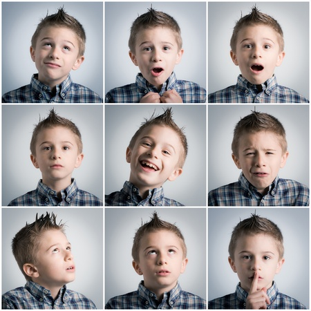 many different boy expressions Stock Photo - 13180053