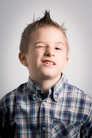 boy winking Stock Photo