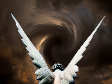 angel headstone: angel and vortex of clouds