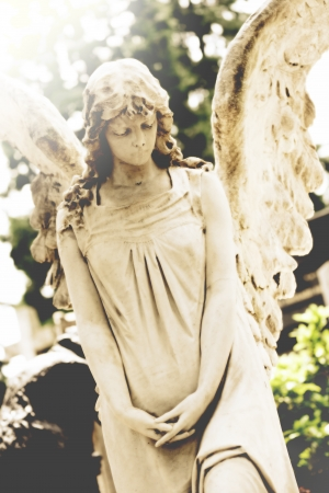 angel cemetery: female angel tombstone