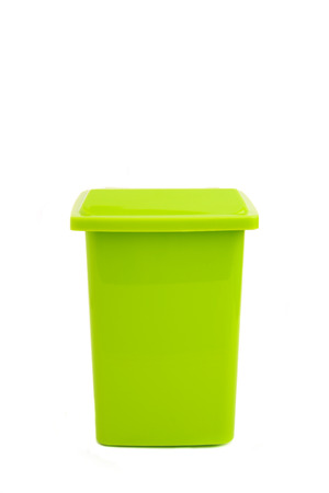 green dumpster isolated on white photo
