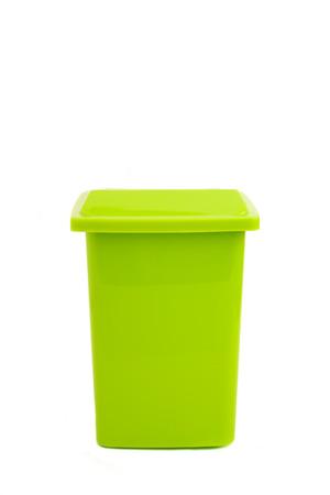 dumpster: green dumpster isolated on white Stock Photo