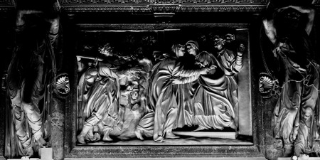 Duomo Milan interior bas relief of pulpito photo