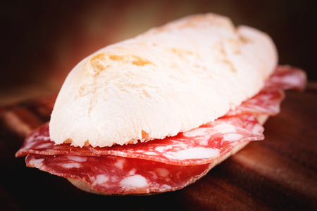 french bread sandwitch with salami photo