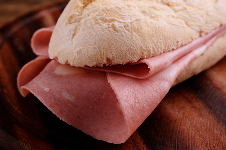 sandwitch: french bread sandwitch with italian mortadella