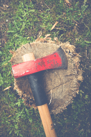 splitting: axe for splitting wood Stock Photo