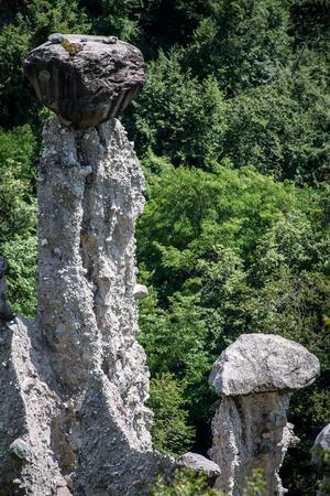 entropy: erosion earth pyramids at Zone, Iseo lake, Italy