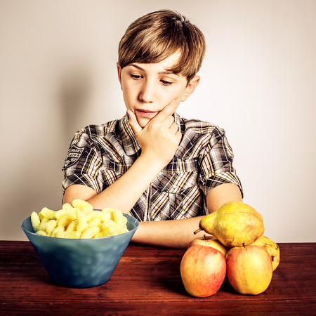 junk: healty food vs junk food Stock Photo
