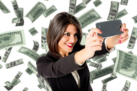 businesswoman selfie with many money photo