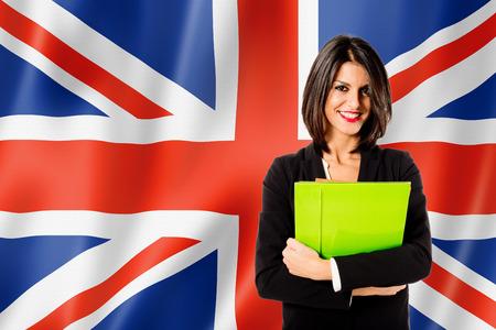 drapeau anglais: apprentissage de la langue anglaise Banque d'images