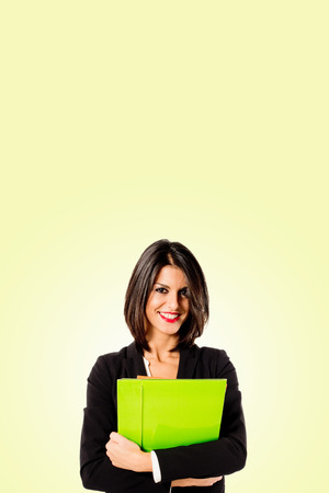 vertica: executive business woman on yellow background