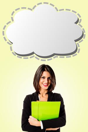 helpdesk: executive business woman with strip cartoon Stock Photo