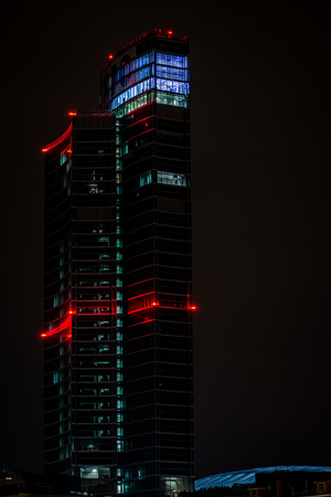 MILAN, ITALY, FEBRUARY 12 2015: new Regione Lombardia skyscraper, night scene, Milan, february 12 2014