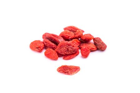 lycium: dried goji berries fruit - lycium barbarum isolated on white background