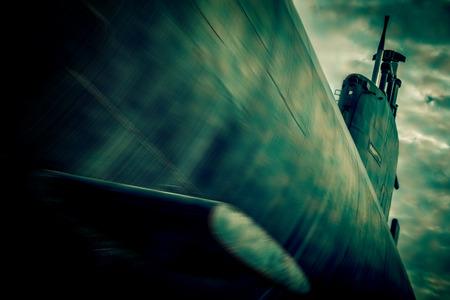 disturbing: war submarine fight  blurred style photo Stock Photo