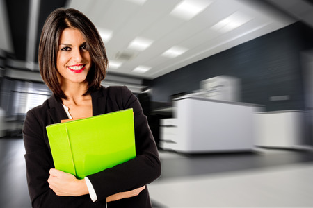 business woman: happy worker Stock Photo