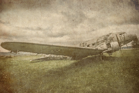 vintage postcard: combat aviation retro grunge background