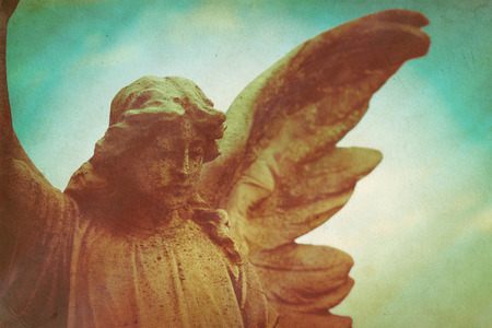 angel cemetery: guardian angel retro grunge background