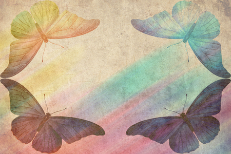 cover background time: multicolored butterfly retro grunge background Stock Photo