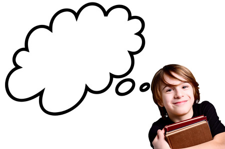 school class: schoolboy over white background with strip cartoon Stock Photo