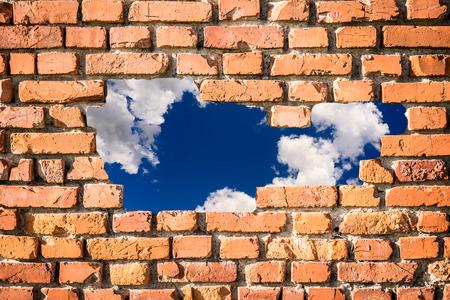 break down: wall and blue sky break down concept