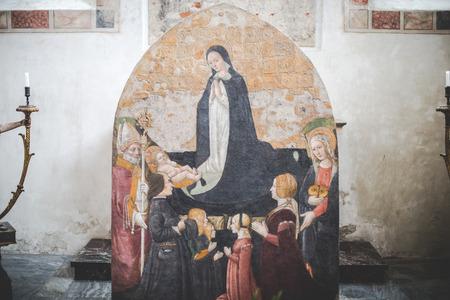 santa cena: MILAN, Italia - diciembre 10,2015: Iglesia Santa María de la Gracia de Santa Maria delle Grazie, Milan.In una capilla lateral.
