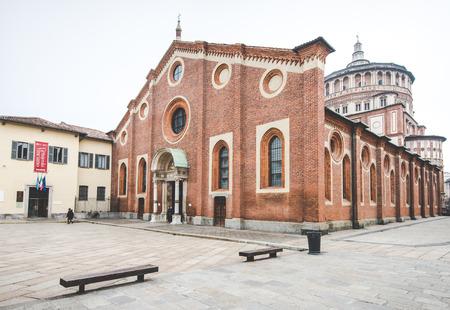 santa cena: MILAN, Italia - diciembre 10,2015: Iglesia Santa María de la Gracia de Santa Maria delle Grazie, Milan.In esta catedral es colocar la famosa obra maestra de Da Vinci, La Última Cena de Jesús.
