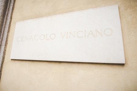 "santa cena: MIL�N, ITALIA - DICIEMBRE 10,2015: Iglesia Santa Mar�a de la Gracia de Santa Maria delle Grazie, Mil�n. ""Cenaclo"" de entrada de Leonardo Da Vinci."