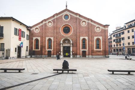 santa cena: MILAN, Italia - diciembre 10,2015: Iglesia Santa Mar�a de la Gracia de Santa Maria delle Grazie, Milan.In esta catedral es colocar la famosa obra maestra de Da Vinci, La �ltima Cena de Jes�s.