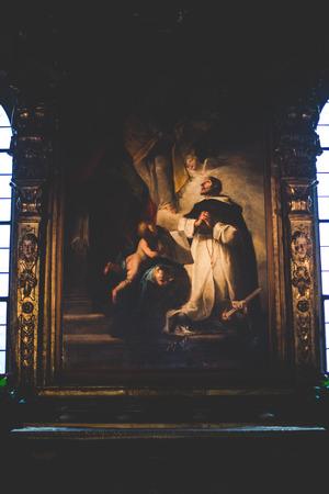santa cena: MILAN, Italia - diciembre 10,2015: Iglesia Santa María de la Gracia de Santa Maria delle Grazie, Milán. Imagen en una capilla lateral.