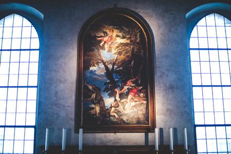 santa cena: MILAN, Italia - diciembre 10,2015: Iglesia Santa Mar�a de la Gracia de Santa Maria delle Grazie, Mil�n. Imagen en una capilla lateral.